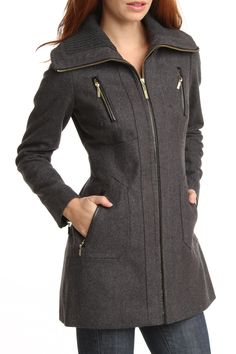 Kensie Zip Front Melton Wool Blend Coat In Charcoal - Beyond the Rack