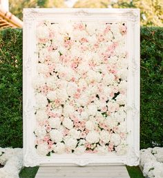 Pink and white hydrangea and rose flower wall