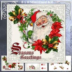 - Three sheet mini kit includes:- 8 inch square topper and two 3 inch square toppers, insert sheet and decoupage sheet with . Card Kit, Decoupage, Floral Wreath, Card Making, Santa, Wreaths, Card Designs, Holiday Decor, Mini