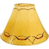 Barbed Wire & Longhorns Western Painted Rawhide Leather Lampshade - Lamps - Lighting Lamp Shades - WEST BY SOUTHWEST DECOR
