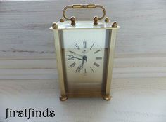 1970's Vintage Royal German Quartz Table Clock Gold by Firstfinds