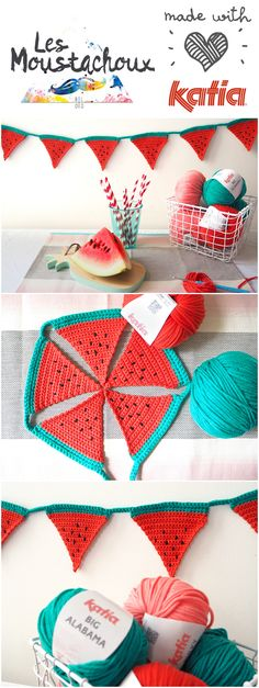 Anne-Sophie, a passionate decoration and DIY enthusiast, has created for Craft Lovers using Katia Bulky Cotton and Big Alabama: a crochet watermelon bunting Crochet Bunting, Crochet Garland, Crochet Decoration, Love Crochet, Crochet Toys, Knit Crochet, Fabric Crafts, Sewing Crafts, Knitting Patterns