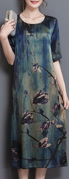 US$ 30.59 Vintage Women Print Pockets A-Line Half SLeeve O-Neck Dress
