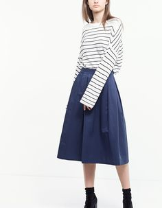 Pleated midi skirt - Skirts | Stradivarius Hungary