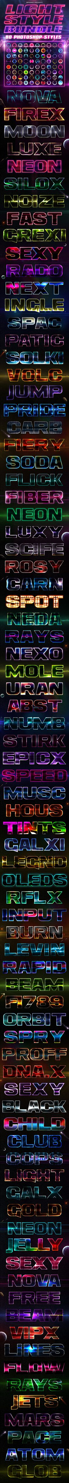 80 Lighting PSD Text Effects Bundle (PSD, CS, asl, bundle, chrome, chrome styles, colorful, fire, galaxy, game style, glow, gold, layer style, lcd, led, light, lighting, lighting effects, metallic, neon, photoshop styles, psd style, shiny, silver, space, style, styles, text effect, text effects, text style, text styles)