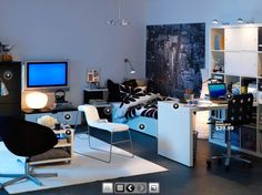 Teen Room Designs, For The Boys Black And White Sofa Rug: Dorm Room Design Inspirations from IKEA