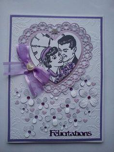 Bonjour à toutes, Voici une carte de Félicitations pour un mariage réalisée par Athéna à la demande d'une de ses collègue. Les couleurs imposées : tons mauve parme et blanc. Voici ma carte : Merci de votre visite et de vos commentaires dont nous sommes...