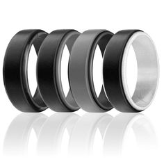 ROQ Silicone Wedding Ring for Men Comfortable Classic Design Available in 4 Packs//Singles Silicone Rubber Wedding Bands