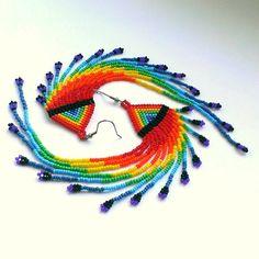 Extra Long Rainbow Earrings-Dangle Long Rainbow Seed by Galiga
