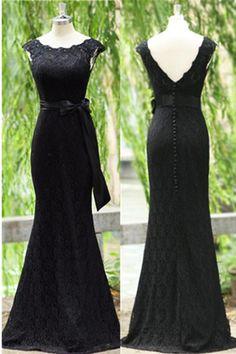 Black Lace Long Prom Dress,Evening Dress,Prom Dresses,BG193