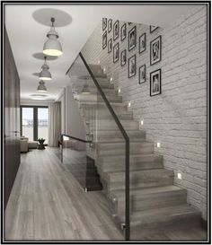 68 Inspirational Photos Of Modern Stairs Design Indoor Glass Stairs, Stairs Window, Tile Stairs, Brick Wallpaper Stairs, Glass Walls, Glass Stair Railing, Laminate Stairs, Banisters, Stair Treads