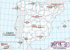 Mapa de los Parques Nacionales de España.