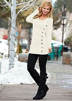 NAVY Side button down sweater, jegging, wedge buckle boot from VENUS
