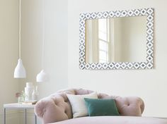 The beautiful Banyan bone mirror has a gorgeous black and white geometric border. It comes in two sizes. White Mirror, Metal Mirror, Beautiful Mirrors, Beautiful Wall, Handmade Mirrors, Comfy Sofa, Interior Design, Inspiration, Furniture