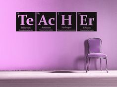 """Teacher gift, periodic table of elements """"TEACHER"""" with inspirational quote wall decal. $24.00, via Etsy."""