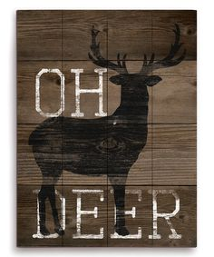 Union Rustic 'Oh Deer' Graphic Art Plaque Size: