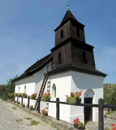 Historic wooden church in Holloko. The village is currently home to 400 residents who are a Palóc ethnic minority group in Hungary.