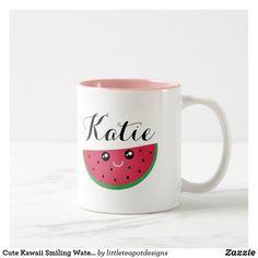 Shop Cute Kawaii Smiling Watermelon Manga Cartoon Emoji Two-Tone Coffee Mug created by littleteapotdesigns. Watermelon Cartoon, Sweet Watermelon, Watermelon Art, Emoji Drawings, Kawaii Fruit, Teapot Design, Funny Emoticons, Emoji Pictures, Soup Mugs
