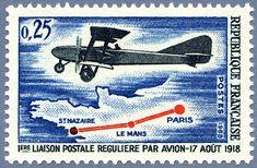 Première liaison postale régulière par avion - Paris - Le Mans - Saint-Nazaire - 17 août 191 Le Mans, Saint Nazaire, Zoom, Stamp Collecting, Monaco, Saints, Paris, Nice, Travel To Greece