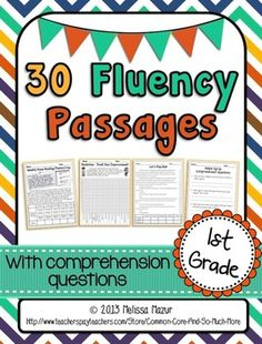 Grade Reading Fluency Passages - 15 Fiction and 15 Nonfiction passages with comprehension questions, graphing sheets, and a parent letter. Leveled with the 2012 CCSS Lexile Level Reading Intervention, Reading Strategies, Reading Activities, Reading Skills, Teaching Reading, Reading Comprehension, Comprehension Questions, Guided Reading, Teaching Ideas