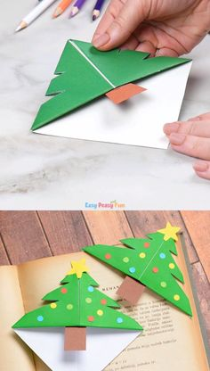 if your kids are eager to make their own DIY gifts for Christmas these Origami Christmas Tree Corner Bookmarks are perfect! # DIY Decorating kids Christmas Tree Corner Bookmarks – Origami for Kids Diy Gifts For Christmas, Origami Christmas Tree, Christmas Trees For Kids, Christmas Fun, Holiday Crafts, Christmas Cookies, Christmas Crafts For Kids To Make At School, Christmas Decorations Diy For Kids, Christmas Activities For Kids