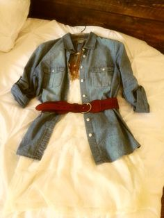 White lace dress. Gold frilled necklace. Chambray shirt. Leather belt.