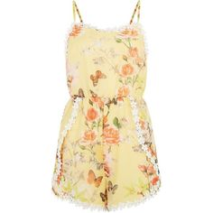 Parisian Yellow Crochet Trim Floral Butterfly Print Playsuit ($17) ❤ liked on Polyvore featuring jumpsuits, rompers, dresses, playsuits, yellow, playsuit jumpsuit, jump suit, floral rompers, floral romper jumpsuit and floral romper