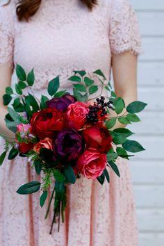 Summer Silk Wedding Bouquet in Plum Burgundy by MarmaladeFloral