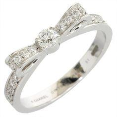 Chanel 18K White Gold Diamond Ribbon Ring US Size 5.75