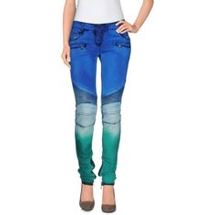 Balmain Jeans (4.950 BRL) ❤ liked on Polyvore featuring jeans, azure, slim fit jeans, colorful jeans, multi colored jeans, blue jeans and slim jeans