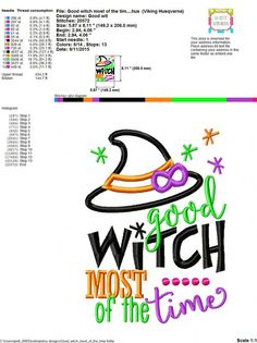 Embroidery design 5X7 6x10 Good Witch Most of by SoCuteAppliques