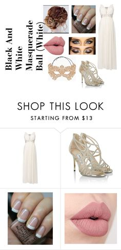 """""""Black And White Masquerade Ball (White)"""" by hey-mate on Polyvore featuring Jimmy Choo, OPI and BCBGMAXAZRIA"""