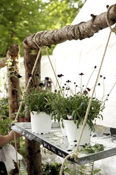 Kind of a neat way to display pots or hanging baskets