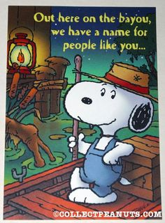Peanuts General Greeting Cards | CollectPeanuts.com - Snoopy on the bayou Greeting Card