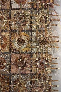 Detail, 'Yardage Held Together by Matches' by Massachusetts-based American artist Donna Rhae Marder Sewn paper, matches, 30 x 42 x 2 in. via Mobilia Textile Fiber Art, Textile Artists, Crazy Quilting, Creative Textiles, Art Brut, Fabric Manipulation, Embroidery Art, Fabric Art, Medium Art