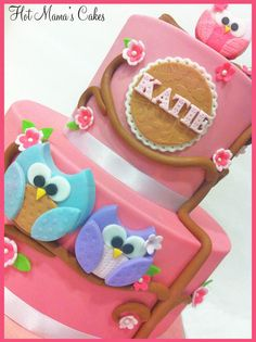 Pink Owl Shower cake - Owl themed baby shower cake in Pinks and browns. Design inspired by Fondant Flinger.