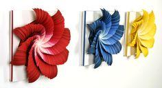 Spectral color in paper sculpture by Jen Stark - Ego - AlterEgo Jen Stark, Peter Callesen, 3d Paper Art, Paper Artwork, Paper Glue, Paper Artist, Art N Craft, Craft Work, Paper Cutting
