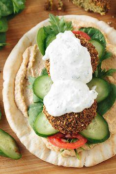 Falafel Wraps with Spicy Hummus | thecozyapron.com