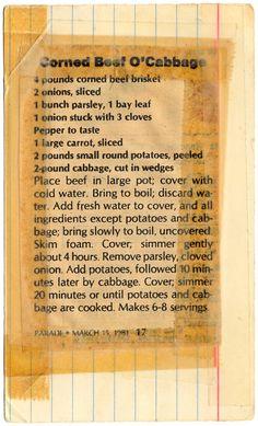 Retro Recipes, Unique Recipes, Vintage Recipes, Irish Recipes, Old Recipes, Cooking Recipes, Beef Brisket Recipes, Corned Beef Brisket