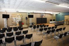 Joshua Gresham from Trailhead Church in Graham, NC brings us this overall youth space. Youth Room Church, Youth Ministry Room, Youth Group Rooms, Kids Church Rooms, Church Lobby, Church Office, Church Interior Design, Church Stage Design, Youth Decor