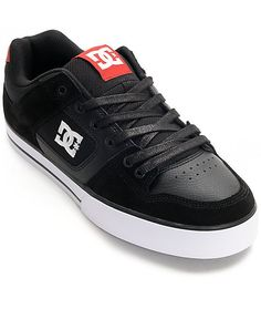 DC Pure Black, Athletic Red & White Skate Shoes