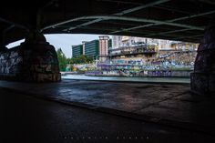 Under a bridge at the Donaukanal in Vienna with view to the Urania and Ministry of Health Building Vienna, Ministry, Times Square, Bridge, Lens, Building, Travel, Viajes, Bro