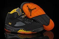 Air Jordan 5 V Retro Shoes Black Orange Jordan V, Nike Air Jordan 5, Air Jordan 5 Retro, Yellow Shoes, Black Shoes, Men's Shoes, Cheap Jordan Shoes, Air Jordan Sneakers, Popular Shoes