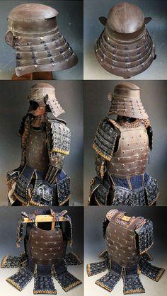 - Yoroi Armor Suit Kabuto. Orange with blue lace Gusoku ./tcc/