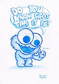 https://flic.kr/p/amyRhr | Blue Doodle #6: Cookie Monster! | ..i'm pretty sure the cookie knows what time it is. poor bugger ;)  Hope you like it!  A5 size (8.3 x 5.8 in) Col Erase pencil on paper Sunday 11th Sept 2011  SOLD!