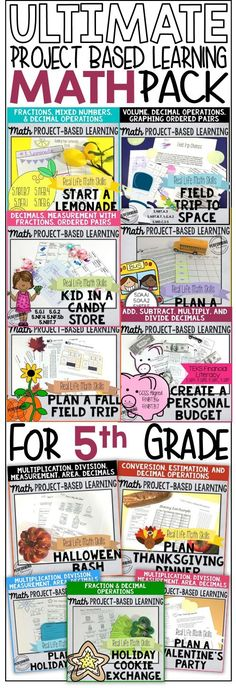 Everything you need for project-based learning for 5th grade Math! My students LOVE these projects and there are so many great extensions to meet standards in the other subject areas!