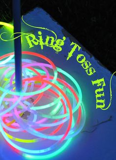 Glowing ring toss game for when power i s out? or summer night! - Did this at a graduation party when it was too dark for volleyball!