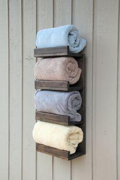 Bathroom Towel Rack, 4 Tier Bath Storage, Everyday Towel Rack, Floating Shelf, Hotel Style, Rustic bathroom towel rack, Bathroom shelf by GBandWood on Etsy