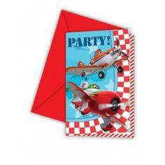 6 cartes d'invitation Planes