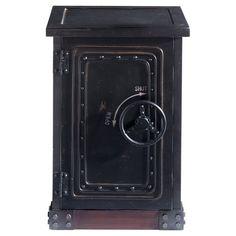 Beistellmöbel im Safe-Design aus Holz, B 53 cm, schwarz antik Bank